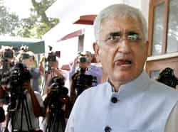 Union minister for law and justice Salman Khurshid at a press conference in New Delhi. Khurshid produced pictures and documents to defend himself against the allegations of financial irregularities levelled against his NGO. HT Photo/Arvind Yadav Khurshid counters allegations