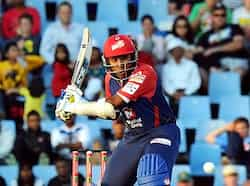 Delhi Daredevils Mahela Jayawardene plays a shot from Kalkata Knight Riders Brett Lee during a Group A match of the Champions League T20 at Super Sports Park in Centurion. AFP Photo CLT20: DD beat KKR