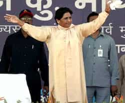 BSP supremo Mayawati during a party rally on the occasion of party founder Kanshiram