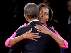 US President Barack Obama hugs his wife Michelle at the conclusion of his debate against Republican presidential nominee Mitt Romney in the second US presidential debate in Hempstead, New York. Reuters/Shannon Stapleton Oct 17: Day in pics