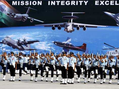 IAF personnels march past on Air Force Day at the Air Force Station in Hindon. HT/Sonu Mehta 80th IAF day celebrations
