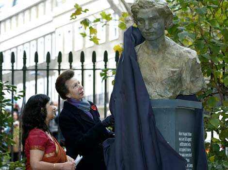 A statue of Noor Inayat Khan, a British spy captured and killed by the Nazis during World War II, is unveiled by Britain
