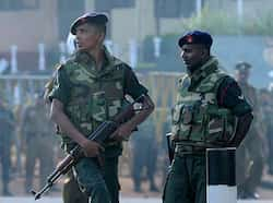 Sri Lankan soldiers stand guard near the Welika maximum prison in Colombo. Sri Lanka