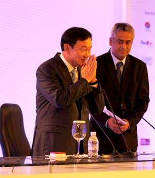 Thaksin Shinawatra, former prime minister of Thailand, addresses the Hindustan Times Leadership Summit in New Delhi. HT/Ajay Aggarwal HT Summit 2012- Day 1