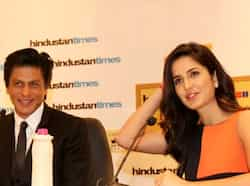 Bollywood actor Shah Rukh Khan and actress Katrina Kaif addressing a press conference during the first day of the Hindustan Times Leadership Summit in New Delhi. HT/Sanjeev Sharma SRK-Katrina at HT Summit 2012