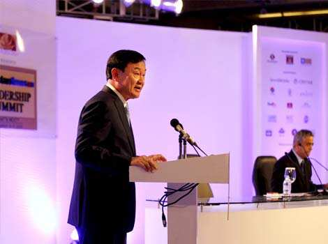 Thaksin Shinawatra, former prime minister of Thailand, addresses the audience at the Hindustan Times Leadership Summit in New Delhi. HT/Ajay Aggarwal HT Summit 2012- Day 1