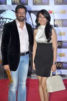 Kabir Khan with wife Mini Mathur. (Photo/Prodip Guha) Bollywood at Skyfall premiere