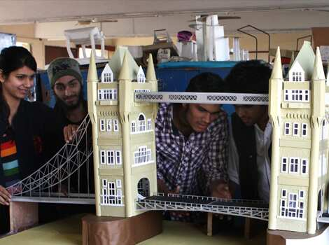 The students of School of Planning and Architecture making the miniature replicas of famous monuments so that visually inpaired people can also experience them. HT/Sushil Kumar Monuments for visually impaired