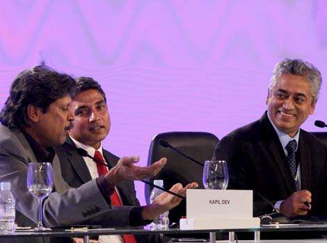 Former cricketer Kapil Dev along with  moderator Rajdeep Sardesai and fomer cricketer Ajay Jadeja before the sixth session of Hindustan Times Leadership Summit at Taj Palace in New Delhi. (Photo by MAHENDRA  PARIKH/ Hindustan Times) Spreading the passion