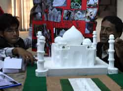The students of School of Planning and Architecture in New Delhi making the miniature replicas of famous monuments so that visually inpaired people can also experience them. HT/Sushil Kumar Monuments for visually impaired