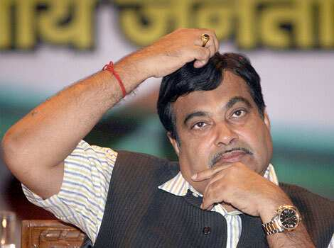 BJP president Nitin Gadkari is seen during the release of the party