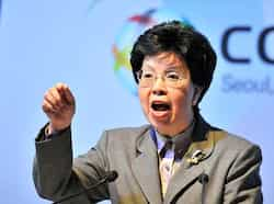 World Health Organisation (WHO) director-general Margaret Chan delivers a speech during a meeting of the WHO