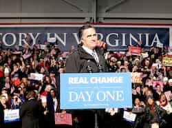 Republican presidential candidate, former Massachusetts governor Mitt Romney speaks during a campaign rally at the Smithfield Foods Hangar in Newport News, Virginia. AFP/Justin Sullivan Last day of campaigning in US