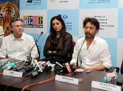 Life of Pi stars Irrfan Khan and Tabu addressing a press conference at the opening of the film at the 43rd International Film Festival of India (IFFI-2012) in Panaji. Film Producer David Womack and Casting Director Avy Kauffman (right) are also seen. Bollywood at Life of Pi premiere