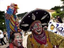 Clowns pose for a picture during celebrations on the International Day of the Clown in Cancun. Reuters Photo Nov 11: Day in pics