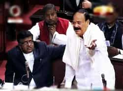 BJP leader M Venkaiah Naidu speaking in Rajya Sabha in New Delhi on Wednesday. PTI/TV grab FDI vote in Rajya Sabha