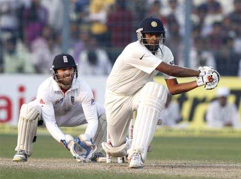 R Ashwin in action during his innings of 83 runs not out on fourth day of third Test match between India and England at Eden Gardens, in Kolkata. HT/Subhendu Ghosh 3rd Test: England beat India
