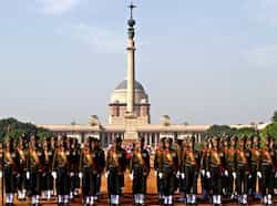 The Change of Guard ceremony at Rashtrapati Bhawan in New Delhi. (HT Photo) Change of Guard ceremony