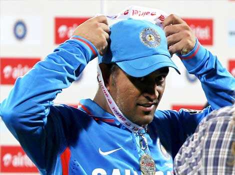 MS Dhoni with the Man of the Match medal after the 1st ODI match against Pakistan at MAC Stadium in Chennai. PTI Photo 1st ODI: India vs Pakistan