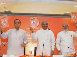 Gujarat chief minister Narendra Modi and senior BJP leaders Arun Jaitley, R C Faldu, Purushottam Rupala and Saurabh Patel release the party manifesto ahead of Assembly elections, at a press conference in Ahmedabad. (PTI Photo) Wooing Gujarat for votes