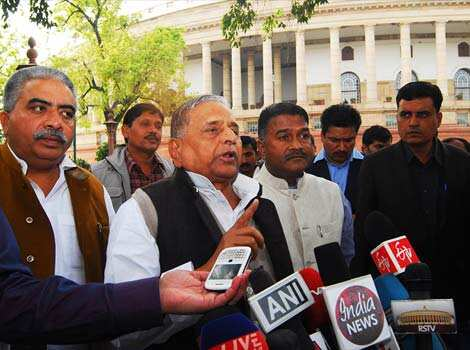 Samajwadi Party supremo Mulayam Singh Yadav with party