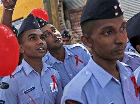 Sri Lankan Air Force Airmen participate in an event organized to mark World AIDS Day in Colombo, Sri Lanka. AP Photo World AIDS Day