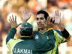 Umar Gul celebrates after dismissing Gautam Gambhir during the second T20 cricket match between India and Pakistan in Ahmedabad. HT/Satish Bate T20: India beat Pakistan