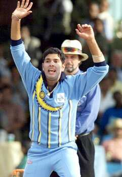 Yuvraj Singh in action before wicket (LBW) on South Africa batsman Gary Kirsten 13 October 2000 at the ICC trophy tournament in Nairobi. India won the semi-final to meet New Zealand in the final. Yuvi: survivor of all odds