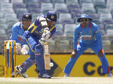Kumar Sangakkara plays a stroke against India during their one day international cricket match at the WACA in Perth. AP Perth ODI: India beat Sri Lanka