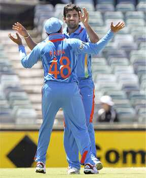 Ravindra Jadeja celebrates the wicket of Tillakaratne Dilshan after he was caught by Virat Kohli during their One Day cricket match in Perth. Reuters Perth ODI: India beat Sri Lanka