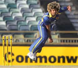 Sri Lankan fast bowler Lasith Malinga in full flight during the match against India in the tri-nations ODI cricket series at the WACA ground in Perth. AFP Photo/Tony Ashby Perth ODI: India beat Sri Lanka