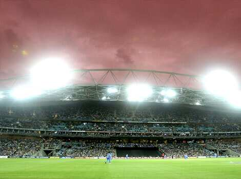 Storm clouds brew over head during the Twenty20 international cricket match between India and Australia in Sydney. AP Photo/Rob Griffith India vs Aus T20