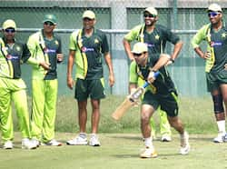 Pakistani players attend a training session in Dhaka, Bangladesh. AP Photo/Aijaz Rahi. Gearing up for the final
