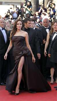 Jolie donned chocolate brown slit dress at the Cannes film festival too. (Photo Credit: AP) SPOTTED: Angelina Jolie