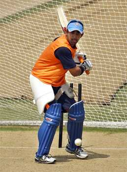 Gautam Gambhir bats in the nets during a training session in Dhaka, Bangladesh. AP/Aijaz Rahi Team India hits the nets