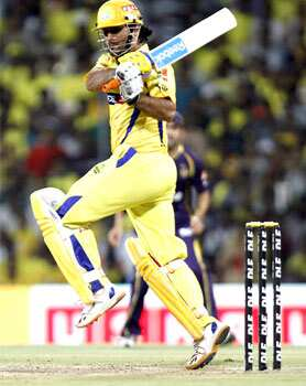 MS Dhoni, captain of Chennai Super Kings, plays a shot during the IPL Twenty 20 cricket match against Kolkata Knight Riders at MA Chidambaram Stadium, Chennai. HT/Gurpreet Singh KKR beat Chennai
