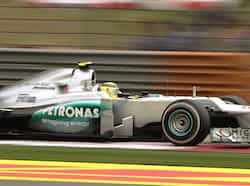Mercedes-AMG driver Nico Rosberg of Germany drives during the qualifying session for Formula One