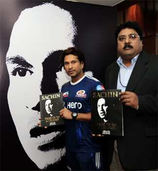 Cricket legend Sachin Tendulkar releasing a book published by The Hindu to commemorate his 100 centuries at a function in Chandigarh. Sachin turns 39