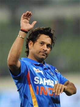 (File) Sachin Tendulkar gestures after India