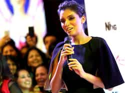 Asin Thottumkal speaks as she arrives for the premiere. (AP Photo) Housefull 2 premieres!