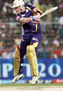 Kolkata Knight Riders batsman B.McCullum plays a shot during their IPL-5 match against Chennai Super Kings in Kolkata. PTI Photo/Swapan Mahapatra CSK topple KKR