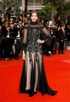 The 26-year-old actor wore a gothic black tulle gown by Alexander McQueen at the closing ceremony of the 65th Cannes International Film Festival and premiere of the film, Therese Desqueyroux. Sonam Kapoor fails to impress at Cannes