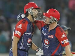 Naman Ojha & David Warner Of Delhi Daredevils after winning the match against Deccan Chargers during 5th edition of IPL at Rajiv Gandhi International Stadium, Uppal. (HT Photo/Ashok Nath Dey) Delhi thrash Deccan