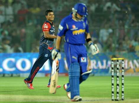 Delhi Daredevils bowler Pawan Negi celebrates after he dismissed Rajasthan Royals batsman Brad Hodge during the IPL Twenty20 cricket match at the Sawai Mansingh stadium in Jaipur. AFP/Sajjad Hussain Delhi beat Rajasthan