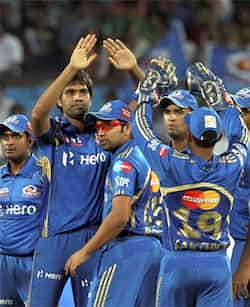 Mumbai Indians celebrate the dismissal of Robin Uthappa during IPL 5 match against Pune Warriors in Pune. PTI Photo/Shirish Shete Mumbai Indians beat Pune Warriors