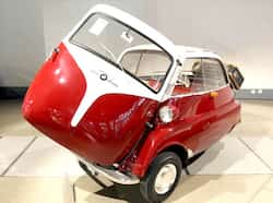 The 1956 BMW Isetta 300 on display at the Grimaldi Forum in Monaco on the eve of the RM Auctions