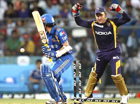 Mumbai Indians player Sachin Tendulkar was bowled by Kolkata Knight Riders player Sunil Narinet during the match between Mumbai Indians and Kolkata Knight Riders at Wankhede Stadium. HT Photo by Kunal Patil KKR beat Mumbai Indians