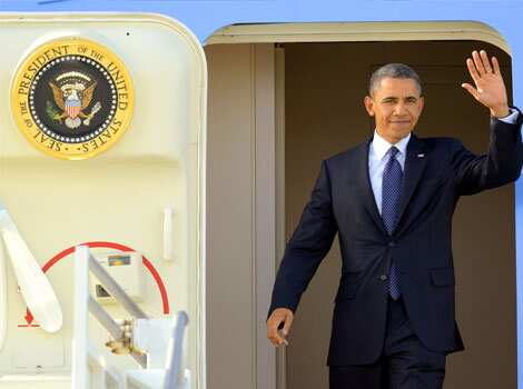 President Barack Obama waves as he arrives at Los Angeles International Airport in Los Angeles. Obama is traveling to the West Coast for a series of campaign fundraisers. AP Photo/Mark J Terrill May 11: Day in pics