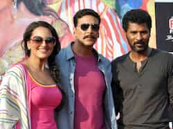 Sonakshi and Akshay pose with director Prabhu Deva. (AFP photo) Sonakshi, Akshay on a promotional spree