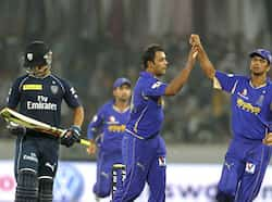 Rajasthan Royals players celebrate after Jean Paul Duminy